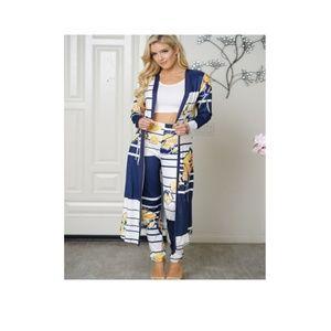 Women's two piece color-block cardigan pant set